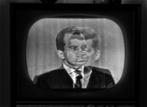 Nixon Kennedy debate was the first televised presidential debate. This image Shows the transition between the two
